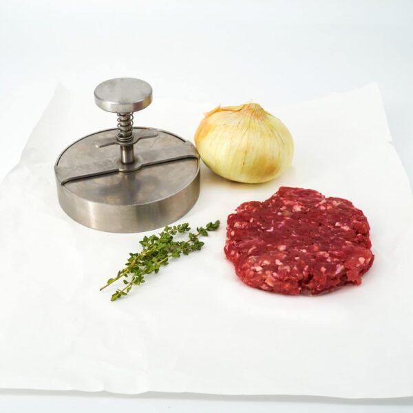 Hamburguesa de cebolla caramelizada y ternera